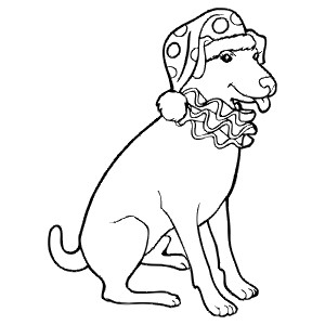 CLOWN-DOG - Colouring Page